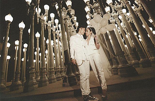 吴建豪与妻子在洛杉矶的婚纱照