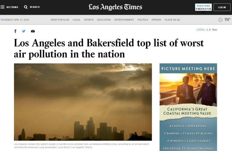 南加空气污染全美第一,洛杉矶空气污染南加第一!